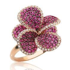 Effy Jewelry Ruby Bloom Ruby  Diamond Ring in 14k Rose Gold 2.24 TCW. - Listing price: $2,500.00 Now: $2,250.00