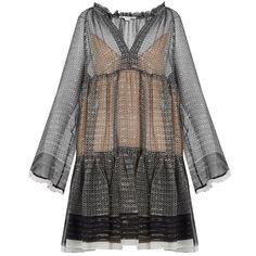 STELLA MCCARTNEY Star-print silk-blend dress (2 192 300 LBP) ❤ liked on Polyvore featuring dresses, slip dress, loose dresses, ruffle dress, slip on dress and long bell sleeve dress