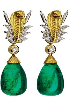 Gemfields emerald, gold, and diamond earrings created by Theo Fennel