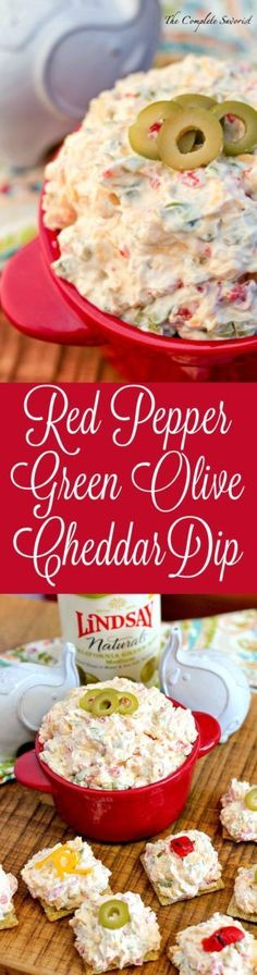 Red Pepper Cheddar Green Olive Dip ~ When pantry staples combine to create a scrumptious, cheesy, tangy dip for both crackers and crostini ~ The Complete Savorist TeamLindsay GameDayMoment ad Appetizer Dips, Yummy Appetizers, Appetizers For Party, Appetizer Recipes, Dip Recipes, Recipies, Party Dips, Guacamole, Hummus