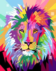 Rainbow Cat Digital Art - Lion Pop Art by Ahmad Nusyirwan Acrylic Painting For Beginners, Simple Acrylic Paintings, Arte Pop, Arte Marilyn Monroe, Ciel Pastel, Pop Art, Lion Painting, Polygon Art, Colorful Animals