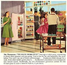 This is an ad for Kelvinator from the 1950's. I'm not looking at that double door fridge. I'm looking at that green dress in the left of the frame. I want that dress! How do I get that dress?? I need to find a vintage pattern...