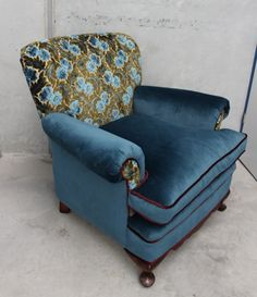 Stunning sky blue and olive green cut velvet from the 1950s paired with beautiful matching Warwick velvets on a low slung ladies armchair.Shipping will be calculated after purchase and invoiced...