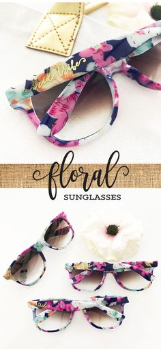Floral Bride Tribe Sunglasses are the perfect favor for your Bachelorette Party weekend! These stylish Bachelorette sunglasses are a great idea for a beach themed weekend getaway - each pair of sunglasses has a pretty floral finish - sure to get your girls some attention!   ***Details***   Listing is for ONE pair of sunglasses in FLORAL PATTERN.  Gradient Lens.  You can choose to have metallic gold lettering added to one arm. Lettering style available: Bride or Bride Tribe.  Size: 5.25 long…
