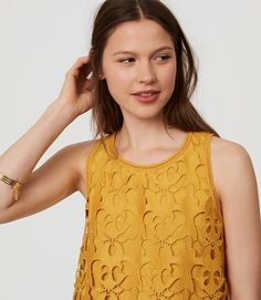 3c8e96d012 LOFT Sunny Lace Top in candied lemon yellow Outfits Spring 2017