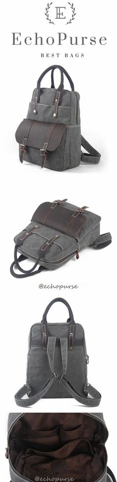 Vintage Handmade Handbags, Canvas Laptop Backpack, Gray Travel Briefcase 1022K