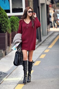 Burgundy sweater dress and black boots #fashion #style