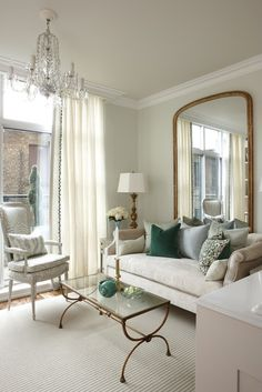 This is my kind of   Apartment   so feminine   and so fabulous.   I love that big mirror   it gives so much glam   and gives the illusi...