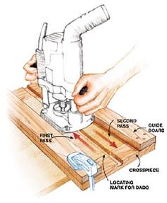 For fast and accurate dadoes, this jig is hard to beat. The trick is to run the router against one guide, then back against the other. This allows you to use a 1/2-in. bit, for example, to cut a dado that's 13/16-in. wide or less, to get a perfect fit with plywood. Because the dado is cut in the end of the jig, you can simply line up the jig …