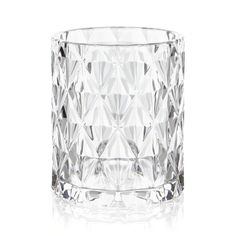 ice bucket-- crate and barrel. Diamond facets lend an icy look to petite glass bucket, sized for smaller bars or serving single spirits or other drinks requiring just an ice cube or two. GlassHand washMade in China.