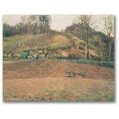 Trademark Fine Art Ploughland Canvas Wall Art by Camille Pissaro, Size: 16 x 24, Multicolor