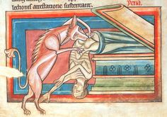 willigula:  A hyena drags the corpse of a woman from her tomb, from the Harley Bestiary, c. 1230