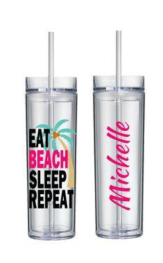 EAT BEACH SLEEP Repeat Skinny Tumbler, Vacation Tumbler, Bachelorette Party, Bridesmaid, Maid of Honor, Beach Vacation
