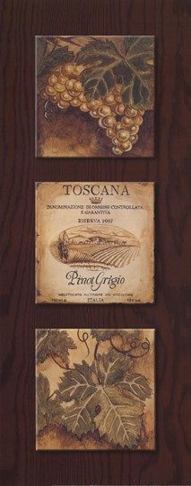 """Vintage  Wine Art - """"Wine Country Panel I"""" by Gregory Gorham - Toscana Pinot Grigio - #grapes #cCreams #cBrowns"""