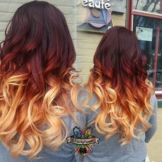 Love this high contrast color melt ombre video coming soon thee official Alyssa Ray ombre ™✔ We are want to say thanks if you like to share t. Yellow Hair Color, Hair Dye Colors, Ombre Hair Color, Cool Hair Color, Pelo Cafe, Fire Hair, Fire Ombre Hair, Hair Painting, Dyed Hair