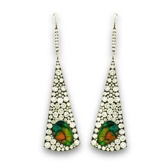 Triangle Shaped Black Opal and Diamond Pavé Drop Earrings. Pear-shaped stained glass opals, 4.31 carats; surrounded by 172 micro-set diamonds of 2.88 carats set in blackened 18K white gold. #diamonds #earrings #martinkatz #jewels #blackopal