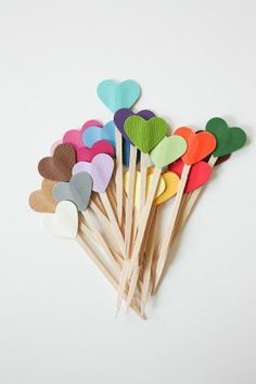 REVEL: Rainbow Heart Cupcake Toppers