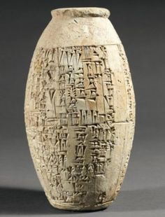 """archaicwonder: """" Rare Mesopotamian vase describing the dredging of the Tigris c. 1848 BC From the Larsa Dynasty during the reign of King Sin-Iddinam c. This barrel vase is engraved with an historical inscription in cuneiform describing the. Ancient Aliens, Ancient History, Art History, Ancient Mesopotamia, Ancient Civilizations, Objets Antiques, Cradle Of Civilization, Ancient Near East, Art Antique"""
