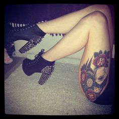 These shoes and thigh piece.