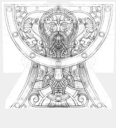 Эскиз для резьбы на чаше братины / Sketch for carving on the Cup Bratina