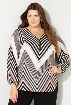 Shop modern lightweight tops with zipper details like our plus size Chevron Zipper Blouse available online at avenue.com. Avenue Store