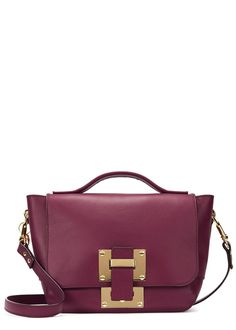 Sophie Hulme cranberry leather cross-body bag Detachable adjustable shoulder strap, gold hardware, hanging eye charm, internal patch pocket, purple suede lining Slip tab fastening at flap front Comes with a dust bag