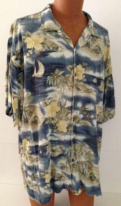 Hilo Hattie Shirt 2XL Mens Hawaiian 100% Silk Blue Hibiscus Sailboat Aloha Camp #HiloHattie #Hawaiian
