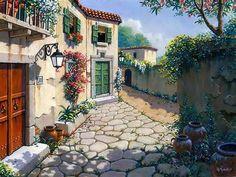Italian Village Original Oil on Board | Italian Oil Painting