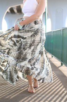 ca3dc9bb6 Golden Hour in Vero Beach Florida   Beach Vacation Outfit   White Crop Top  Printed Maxi