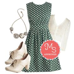 Too Much Fun Dress in Forest Creme by modcloth on Polyvore featuring Emily and Fin, Chelsea Crew and vintage