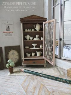 Foldable Table, Old Cabinets, Small Mirrors, Shabby Chic Style, Mantle, China Cabinet, Miniatures, Storage, Wood