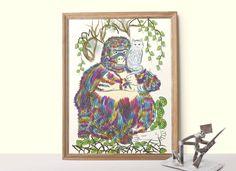 Gorilla and Cat poster