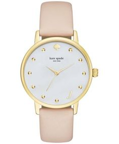 Get top-notch style and timekeeping with this attractive Monogram Metro watch by kate spade new york. | Vachetta leather strap | Round gold-tone stainless steel case, 34mm | Mother of pearl dial with