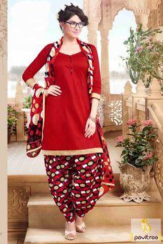 Look stylish yet fashionable in this opulent red cotton punjabi patiala salwar…