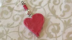 Handmade Polymer Clay Heart Pendant Cranberry by WillowBrookClay, $12.00