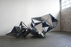 Original Geometric Sculpture by Isabelle Tellie Reflective Sculpture, Geometric Sculpture, Geometric Art, Steel Sculpture, Sculpture Art, Industrial Sculptures, Reflection Art, A Level Art, Conceptual Art