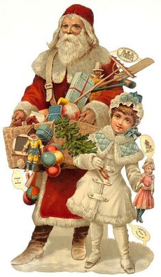 Raphael Tuck & Sons (England) — Santa with Gifts and Children Old Time Christmas, Old Fashioned Christmas, Christmas Scenes, Victorian Christmas, Father Christmas, Vintage Christmas Cards, Xmas Cards, Christmas Art, All Things Christmas