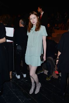 Christa Theret wearing a Fall 2016 look to the Valentino Fall/Winter 2016-17 fashion show on March 8th 2016.