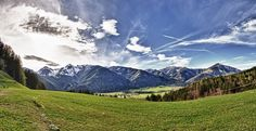 A beautifull spring day near the foothills of the alps in Chiemgau, Bavaria, Germany.