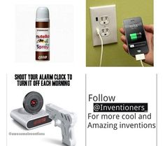 Cool inventions spray in Nutella , phone charger plug in shoot alarm clock