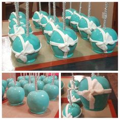 Chocolate Apples, Chocolate Dipped, Caramel Apples, Party Treats, Party Desserts, Breakfast At Tiffanys Party Ideas, Tiffany Blue Party, Carmel Candy, Gourmet Candy Apples