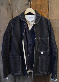 independencechicago: Sunny Sports - Wabash Stripe Shawl Collar Deck Jacket Post O'alls - Navy Traveler Vest Velva Sheen - Waffle Henley