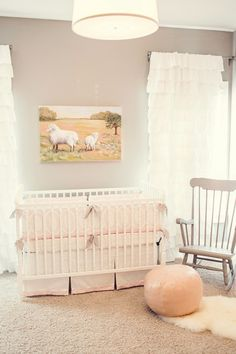 Interior Ideas Furniture. Stylish Interior Designs with Wonderful Furniture Set. Minimalist Light Brown Nursery Room Design Ideas Come With Cute White Pink Baby Crib And Soft Pink Leather Ottoman Plus Cozy Vintage Style Wooden Rocking Chair Together With Lovely White Ruffled Window Curtain Panels. Steady Copeland Furniture Design For Fantasy Room
