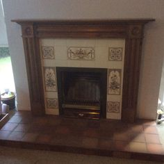 Victorian Look Tiled Fireplace Complete With Wood Surround