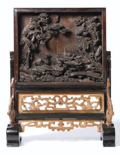 A Carved and Inscribed Zitan and Boxwood Table Screen with an Imperial Poem Qing Dynasty, Yongzheng / Qianlong Period, China. Unique Furniture, Cheap Furniture, Asian Furniture, Luxury Furniture, Antique Chinese Furniture, Art Asiatique, China Art, Chinese Antiques, Chinese Culture