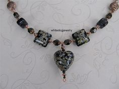 Necklace  Grace Lampwork Heart Pendant with by WhiteDogJewelry, $82.00