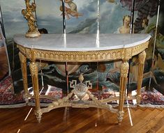 In solid, carved giltwood with Carrara marble top. Carrara Marble, Marble Top, Table Furniture, Antique Furniture, Louis Xvi, Entryway Tables, Console, Dining Table, French