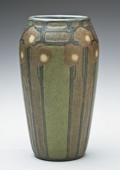 "Marblehead Pottery (1904-1936) - Vase with Stylized Flowers. Made & Decorated by Sarah Tutt and John Swallow.  Thrown Earthenware with Applied Slips. Marblehead, Massachusetts. Circa 1910. 7"" x 4""."