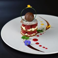 chefsofinstagram: Raspberry-pistachio tulie Napoleon creme brûlée truffle white chocolate mousse citrus & berry sauce chocolate glaze. By a @chef_ercan_ekinci #ChefsOfInstagram @DessertMasters