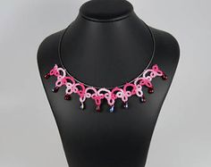 Casual jewelry Lace Tatting Necklace with Sterling and glass
